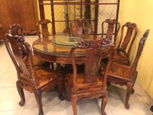 Bộ bàn ăn tròn mâm xoay gỗ cẩm lai