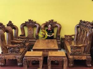 Bộ Bàn Ghế Chạm Kỳ Lân Gỗ Cẩm Lai Tay 20  VIP – BBG927