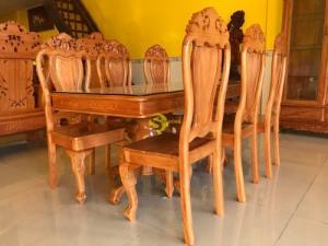 Bộ bàn ăn 06 ghế 100% gỗ gõ đỏ vuông lượn siêu đẹp