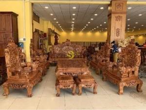 Bộ bàn ghế Rồng Đỉnh Liền khối gỗ gõ