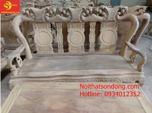 Bộ bàn ghế chạm đào gỗ lim giá rẻ