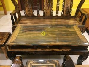 Bộ bàn ghế chạm đào gỗ mun sọc cột 10, 6 món