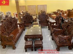 Bộ bàn ghế rồng bào đỉnh gỗ hương việt chân 14 BBG190