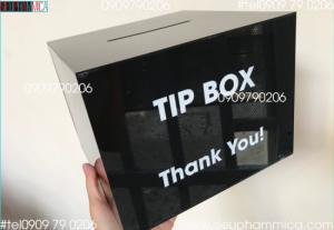Hộp đựng tiền tipbox mica màu đen có sẵn