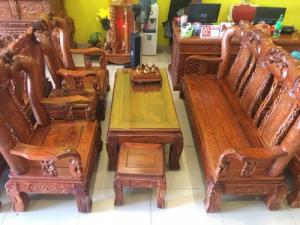 Bộ bàn ghế chạm đào gỗ hương Nam Phi tay 12, 6 món siêu đẹp