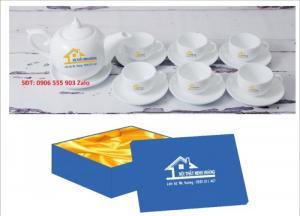 Xưởng sản xuất in ấn bộ ấm trà in logo Hồ Chí Minh, Bộ ấm chén in logo HCM