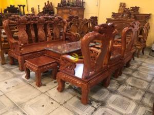 Bộ bàn ghế chạm đào chim tay rồng mặt liền tấm gỗ hương đá 6 món tay 10