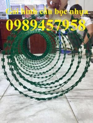 Dây thép gai hình dao bọc PVC, dây gai bọc nhựa 45cm, 60cm