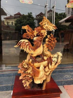Tượng gỗ trang trí nội thất - Gia đình gà _ Mỹ nghệ Âu Lạc