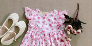 Đầm bé gái hoa nhí thỏ hồng tay cánh tiên D05-THOHONG