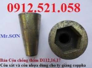 Côn sắt chống thấm ren thô D16- Thi công cột vách.Côn nhựa lõi thép D12-14-16