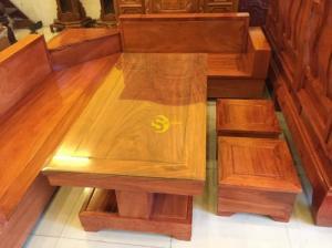Bộ sofa góc chéo gỗ cao cấp 5 món giá tại xưởng