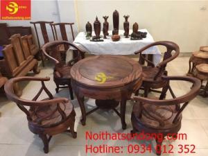 Bộ bàn ghế móc thúng gỗ cẩm lai xịn 100%
