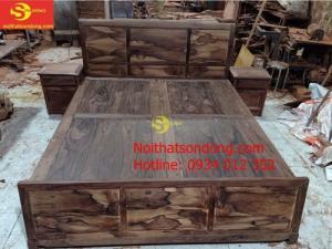 [Combo] Giường ngủ gỗ cẩm lai xịn + 2 táp đầu giường