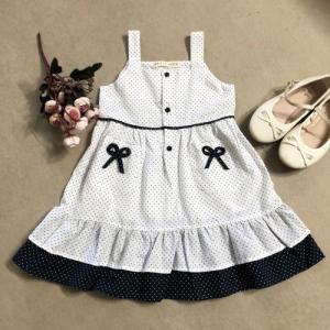 Đầm bé gái xòe 2 dây trắng chấm bi đen có túi đính nơ D02-TRANG