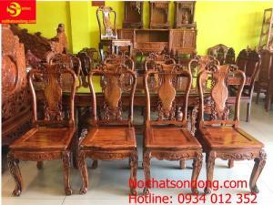Bộ bàn ăn cẩm lai xịn sơn ta 8 ghế bàn ovan BBA4258B