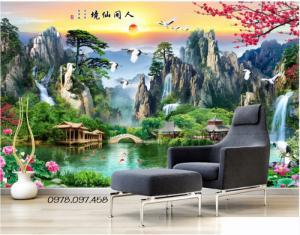 Tranh gạch men 3d cao cấp trang trí phòng khách mẫu sơn thủy hữu tình