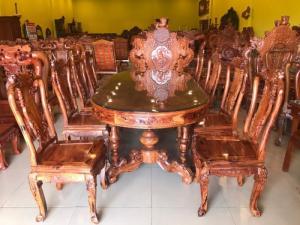 Bộ bàn ăn cẩm lai xịn sơn ta 8 ghế bàn ovan Siêu đăng cấp
