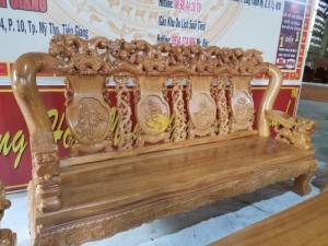 Bộ bàn ghế chạm đào chim gỗ gõ đỏ tay 14 mặt dày 5cm – BBG2912