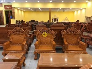 Bộ bàn ghế hoàng gia gõ đỏ mặt khung tranh 10 món