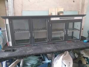 Tủ nhôm kính bếp treo tường, màu xám ghi