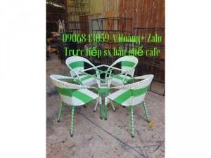 Bàn ghế cafe nhựa giả mây giá rẽ - nội thất Nguyễn hoàng
