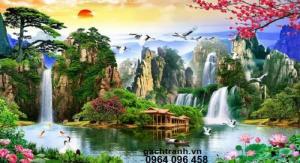 Tranh gạch 3d thác nước phong thủy - 55t