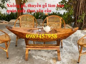 Bán thuyền gỗ trang trí quán cafe, thuyền gỗ bày hải sản