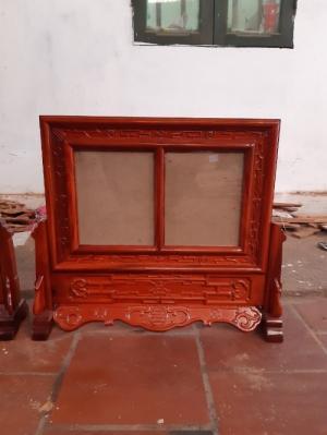 Khung ảnh thờ kép triện  đôi gỗ hương kích thước ảnh 20 x30 cm