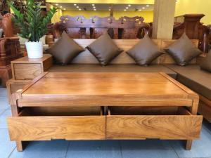 Sofa nệm da kiểu dáng chân cong nghệ thuật gỗ gõ đỏ