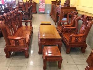 Bộ bàn ghế phòng khách tay chạm đào phong thủy gỗ hương đá