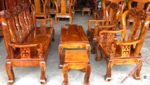 Bộ salon phòng khách nhỏ tay 8 gỗ xoan đào, mặt gỗ gõ đỏ