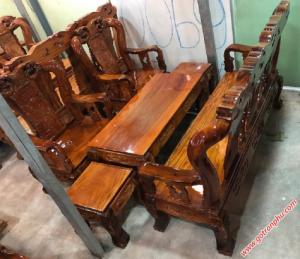 Bộ ghế sa lông gỗ xoan đào tay 10 mặt gỗ đỏ
