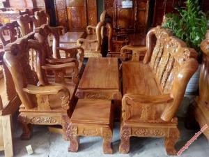 Bộ ghế sa lông gỗ gõ đỏ tay 12 chạm đào