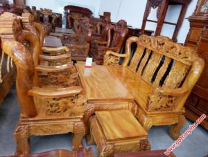 Bộ ghế sa lông tay 12 gỗ gõ đỏ chạm rồng