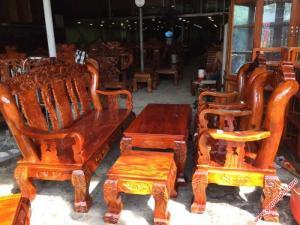 Bộ ghế sa lông gỗ xoan đào mặt gỗ gõ đỏ chạm rồng tay 12