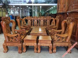 Bộ ghế sa lông gỗ gõ đỏ Việt Nam tay 14