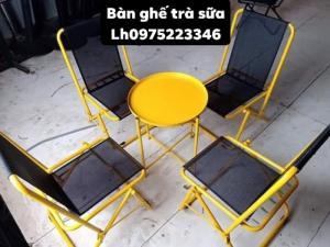 Bộ bàn ghế lưới xếp sắt sơn tỉnh điện