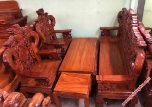 Salon gỗ gõ đỏ Lào chạm rồng tay khuỳnh