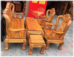 Bộ bàn ghế gỗ tay 10 gỗ gõ đỏ chạm rồng 6 món