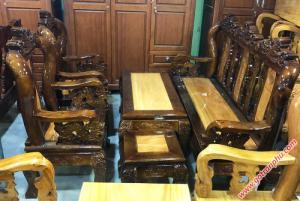 Salon gỗ tay 10 gỗ xoan đào mặt gõ đỏ, tựa gõ đỏ chạm nghê