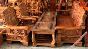 Sa lông đẹp phòng khách gỗ sồi gỗ tự nhiên