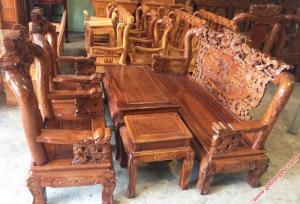 Salon gỗ phòng khách gỗ hương tay 10 chạm rồng bát tiên