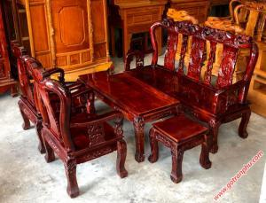 Sa lông phòng khách tay 8 gỗ xoan đào, mặt gỗ gõ đỏ màu đậm