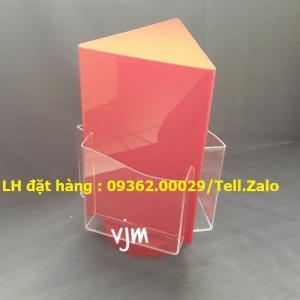 Gia công mẫu kệ xoay 3 mặt, kệ xoay mica ngũ giác giá rẻ tại Hà Nội