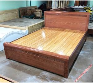 Giường 1m6 gỗ hương đá kẻ chỉ dát phản