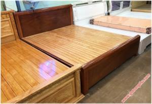 Giường ngủ giá rẻ gỗ xoan đào dát phản kẻ chỉ 1m8 x 2m