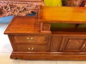 Tủ tivi sofa gỗ gõ đỏ 2,2m – TTV230 giá rẻ tại xưởng