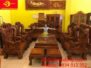 Bộ bàn ghế chạm rồng cột đục nổi gỗ hương tay 16 10 món