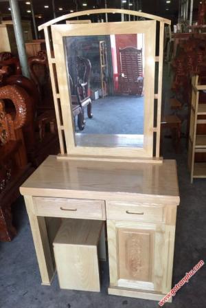 Bàn trang điểm đẹp gỗ sồi gương hình chữ nhật